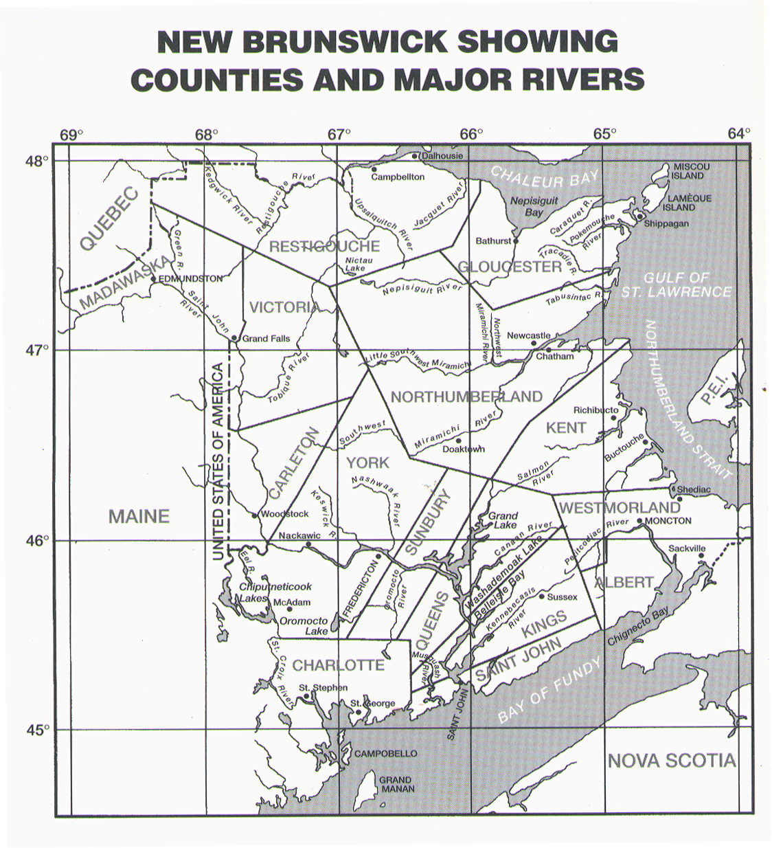 New Brunswick Showing Counties and Major Rivers